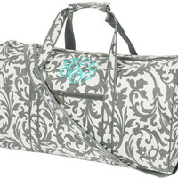 Personalized women&#x27;s &quot;Grey Floral Large DUFFLE BAG&quot;, Monogrammed with your Initials.    Size 21&quot; L x 10&quot; W x 11&quot;H