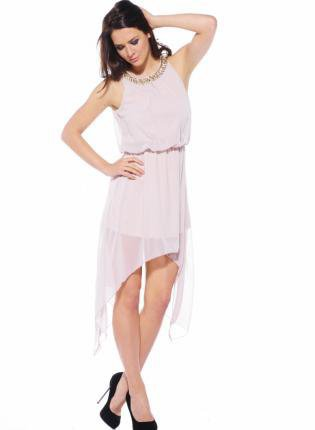 Stone Chiffon High Low Dress with Embellished Neckline