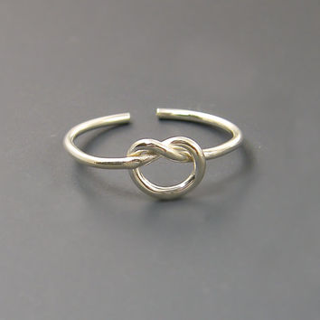 Sterling Silver Toe Ring Love Knot Adjustable