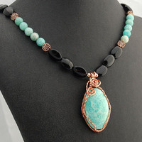 Aqua Blue Hemimorphite, Obsidian & Copper Pendant Necklace