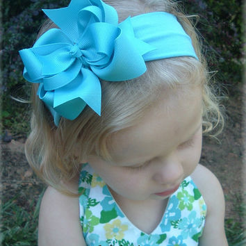 Turquoise Exclusive Hair Bow Headband Bowband Infant Toddler Girls Baby Summer Bows Clip Barrette Unique