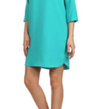 EVERLY - Solid color, shift dress with 3/4 sleeves