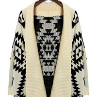 Aztec Print Long Sleeve Open Knit
