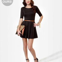 Adorable Black Dress - Skater Dress - Short Sleeve Dress - Backless Dress - $42.00