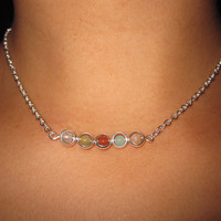 Beaded Choker Chain Necklace with Silver Plated Ring Beads Jasper Beads