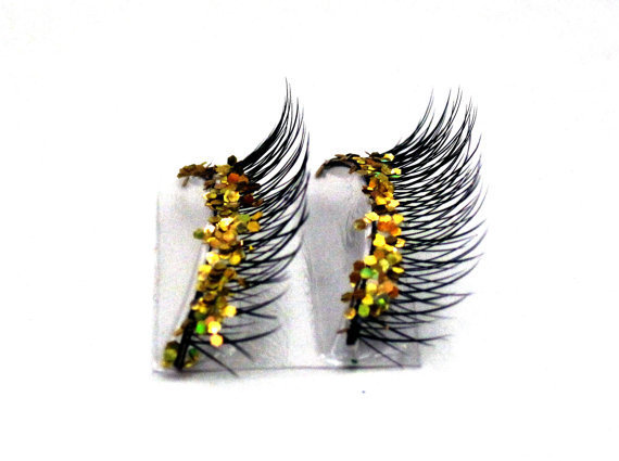 Natural Gold Glitter Faux Eyelashes