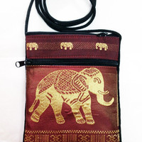 Small Bag Wallet Coin Purse Elephant Clothes Color Brown