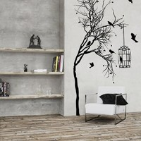 Ik1 Wall Decal Sticker Room Decor Wall Art Mural Romantic Elegant Tree Birds Cage Cell Fragile Beautiful Fly Romantic Living Room Bedroom Fireplace Kitchen Interior