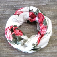 Little Girls Scarf Childs Scarf Cute Toddler Scarf Precious Scarf Roses Pink Peach Cream Green Kids Scarf Cute Gift Idea Ready To Ship