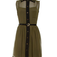 Miss Real Khaki Crepe Sleeveless Shirt Dress