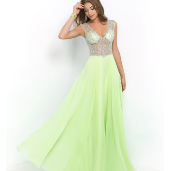 Preorder - Blush Prom Lime Green Beaded Sheer Illusion Bodice Chiffon Dress Prom 2015