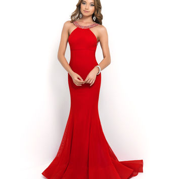 Preorder - Blush Prom Valentine Red Beaded Sequin High Neck Low Back Netted Gown Prom 2015