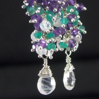 Mardi Gras Earrings Amethyst Green Onyx Rainbow Moonstone Cluster Drop