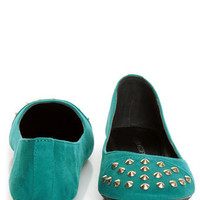 City Classified Gloria Deep Teal Studded Cap-Toe Flats - $19.00