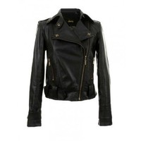 Black Short Casual Zipper Punk Lapel Leather Jacket@XYZ4903b
