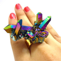 Titanium Quartz Rainbow Aura Crystal Cluster SPACE DAGGER Ring by AstralEYE