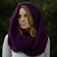 Infinity Scarf, Hooded Scarf, Oversized Purple Eggplant Crochet Hood