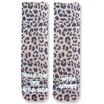 Full Print Custom Leopard Print Socks with Personalized Message - Adult Unisex Size fits Most