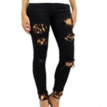 Black Leopard Patch Distressed Jeans