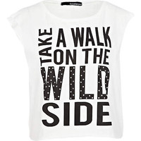 white take a walk print tank