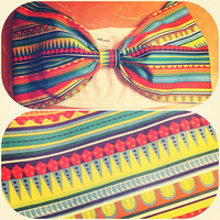 Bright Color-Block Bow Bandeau