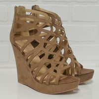 Race To The Finish Taupe Wedges