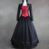 Black And Red Long Sleeves Gothic Victorian Lolita Dress Bandage Lace Cotton Fancy Dress [LCT110141] - 62.99 : Zentai, Sexy Lingerie, Zentai Suit, Chemise