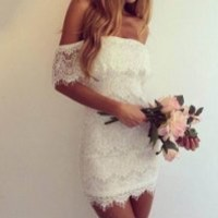 Leshery Women Sexy Off Shoulder Lace Dress Bandage Bodycon Lace Evening Sexy Party Cocktail Mini Dress White (L)