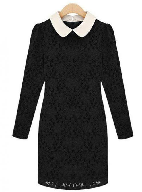 Black Lace Doll Collar Slim Long-sleeved Dress$52.00