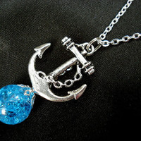 Nautical Anchor Blue Glass Fried Marble Necklace