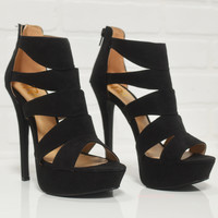 Flawless In Dallas Black Strappy Cocktail Heels