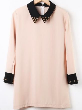 Light Khaki Contrast Collar Long Sleeve Rivet Dress - Sheinside.com