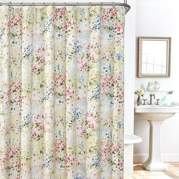 Plisse Giverny 14-pc. Fabric Shower Curtain, Liner & Hook Set