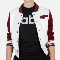 Members Only: Varsity Jacket Burgundy, at 48% off!