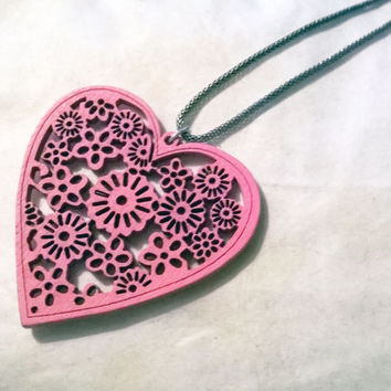 Large Pink Wooden Heart Necklace