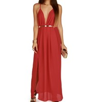 Red Sheer Sexy Maxi Dress