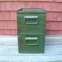 Vintage Storage Bins Metal Box Set of 2 StackBin Drawer by BarnFly
