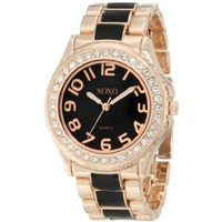 XOXO Women's XO5473 Rose Gold with Black Epoxy Analog Bracelet Watch - designer shoes, handbags, jewelry, watches, and fashion accessories | endless.com