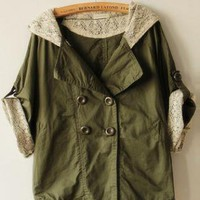 Green Bat Sleeve Hooded Trench Coat  S000637