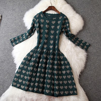 Long Sleeve Knitted Dress with Heart Print in Green