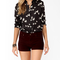 Satin Bird Print Shirt