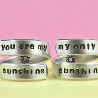 [♡005] you are my sunshine/my only sunshine - Hand stamped Aluminum Rings Set,  Mother Daughter Rings - US