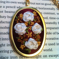 Red, White and Gold Beaded Flower Pendant - Silk Ribbon Embroidery by BeanTown Embroidery