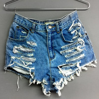 High Waisted denim shorts Cut