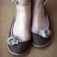 Beige Rose - Handmade  Leather flat shoes