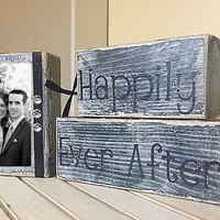 Personalized Wedding gift/Decoration Happily Ever After wedding, shower, anniversary, birthday gift black and white wedding shabby chic sign