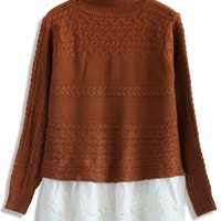 Lovely Lace Hem Sweater in Camel