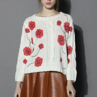 Little Red Flower Cable Knit Sweater