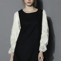 Floral Lace Sleeves Dolly Wool Dress