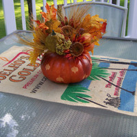Upcycled Rustic Burlap Coffee Bean Sack Table Runner for Fall - Coehlo's Gold - Orange - Autumn Home Decor